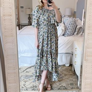 MANGO Asymmetrical Floral Print Maxi Dress